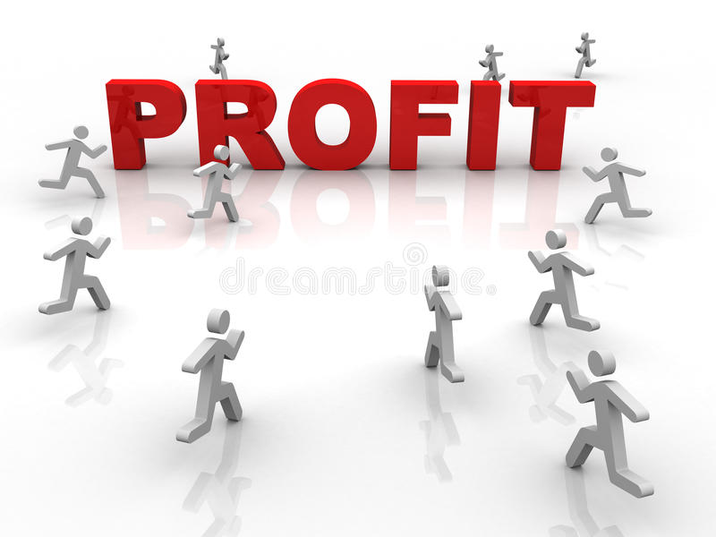 Profit. Word profit and running characters royalty free illustration