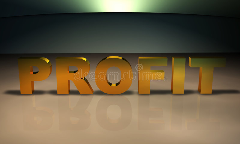 Profit 3D Text in gold. Business Concept Text: An emphasis on profit royalty free illustration