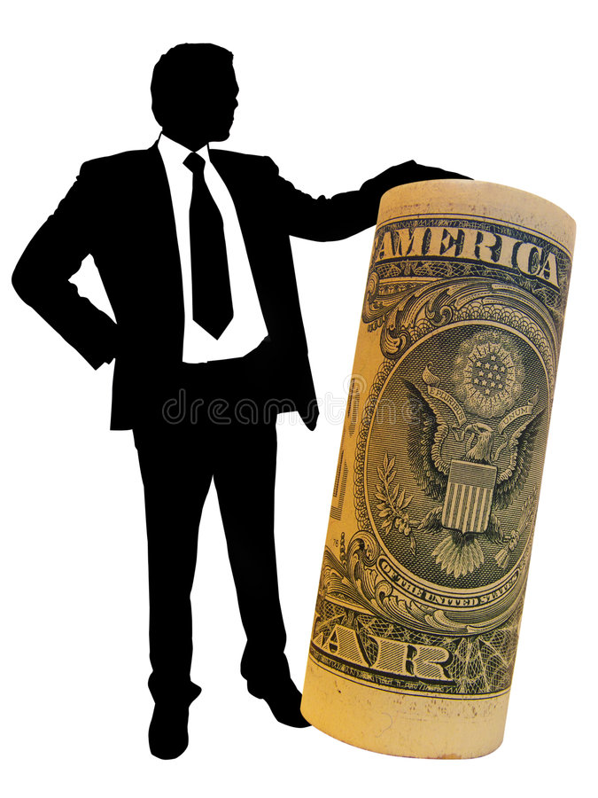 Profit. Businessman standing with big dollar royalty free illustration