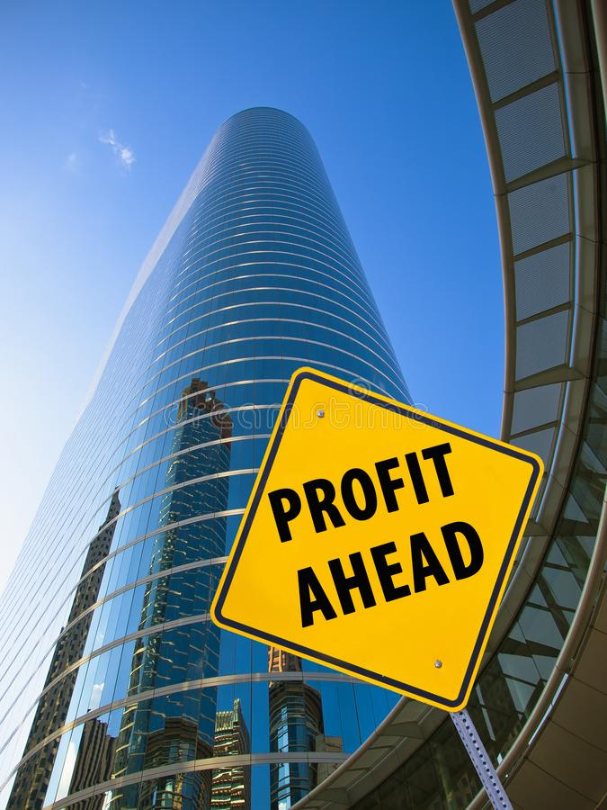 Profit Ahead sign. In front of a corporate building stock images