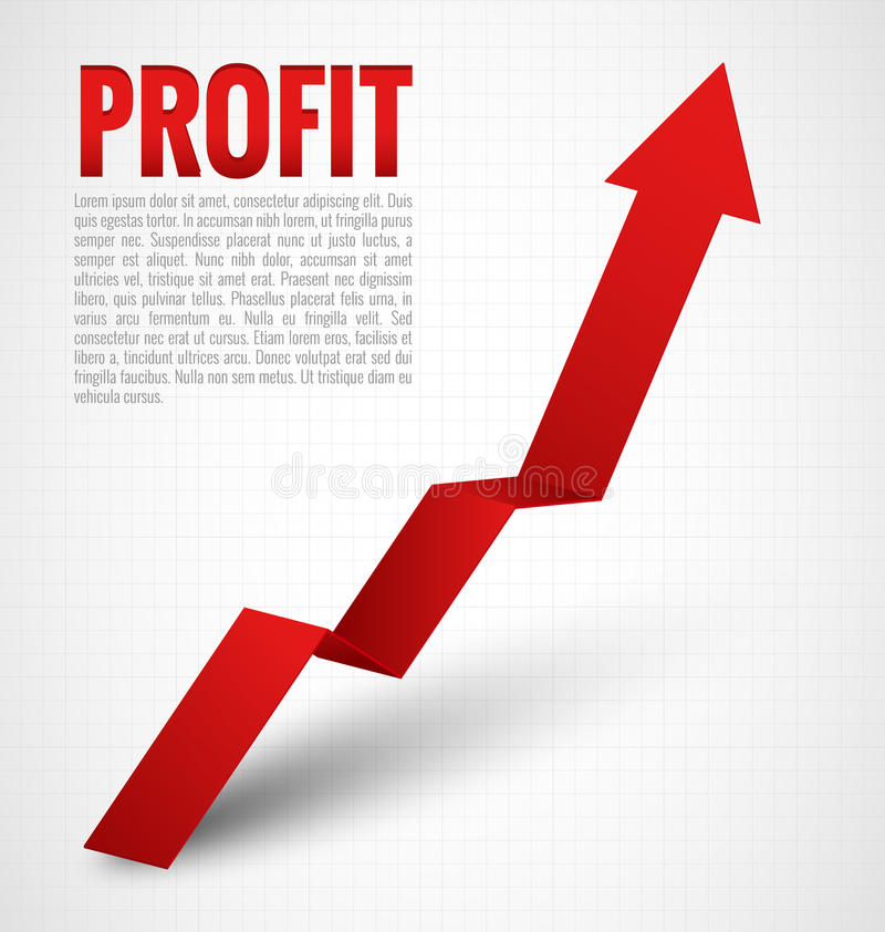 Profit Arrow. Profit Graph red Arrow on white background royalty free illustration