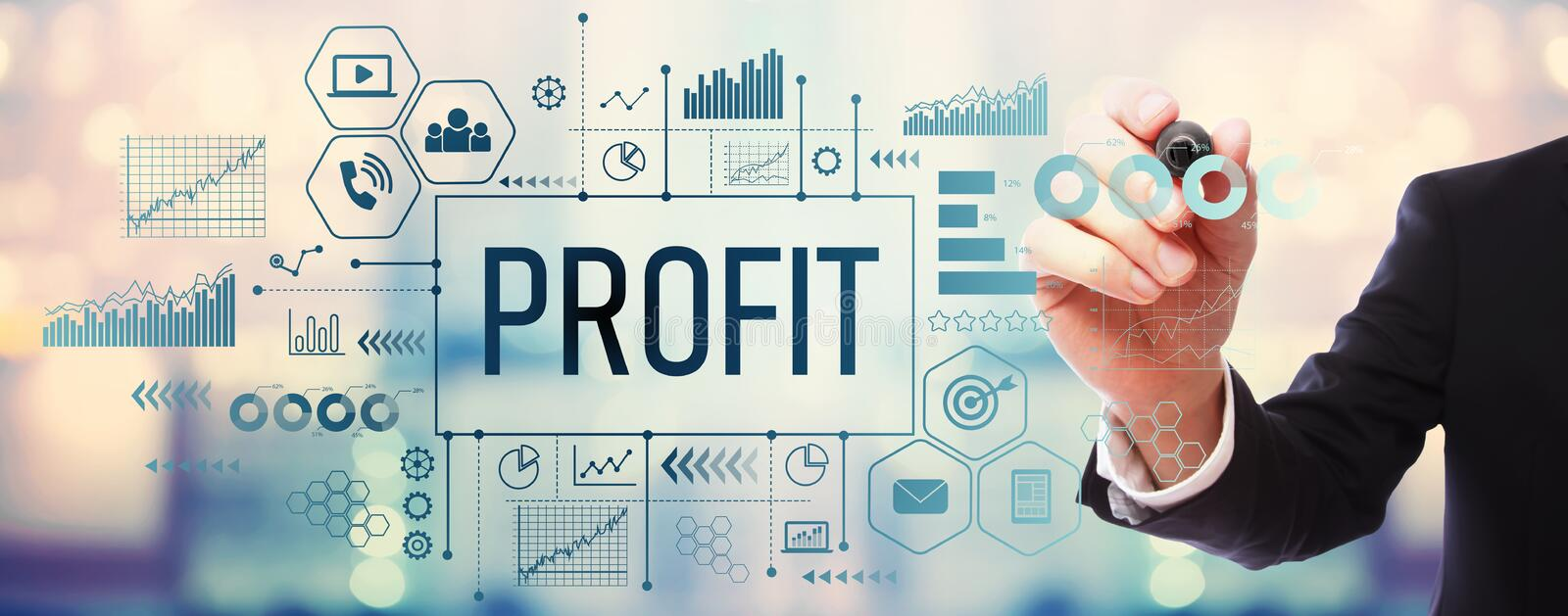 Profit with businessman. On blurred abstract background stock photography