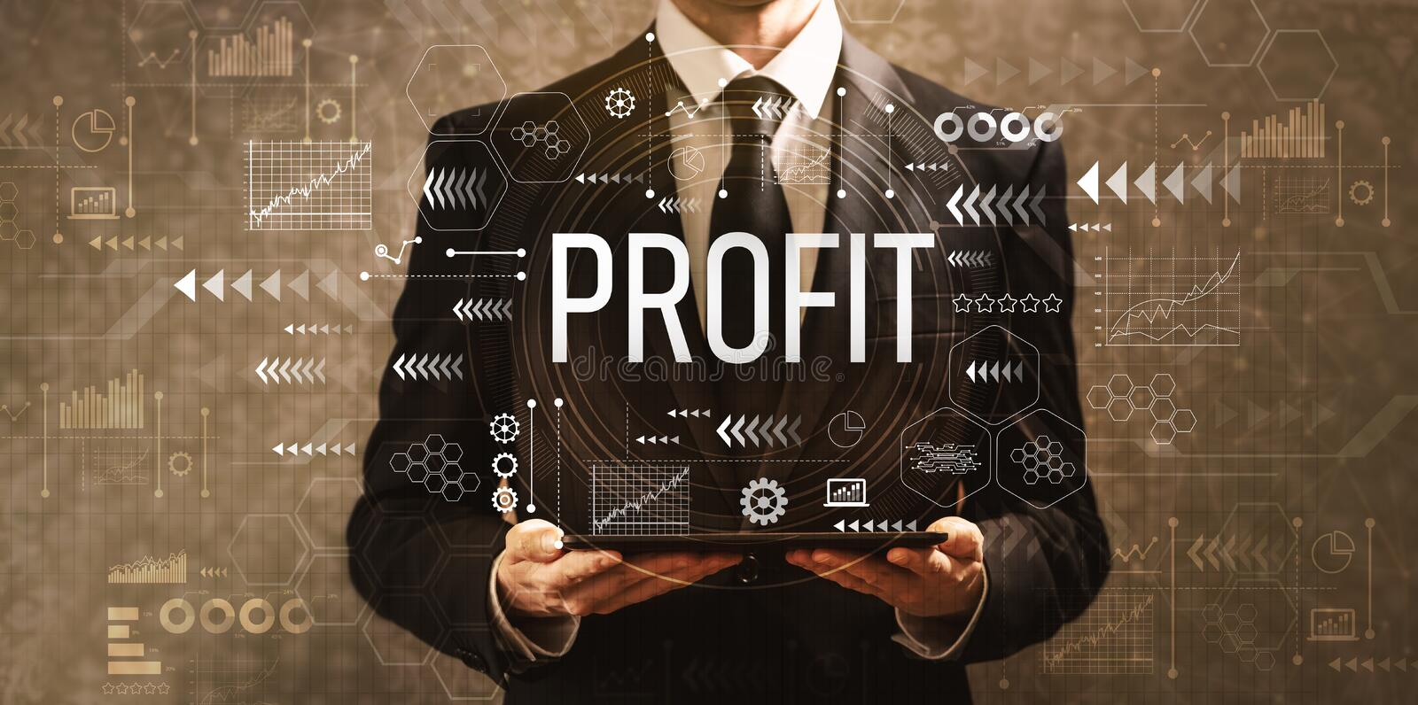 Profit with businessman holding a tablet computer royalty free stock photos
