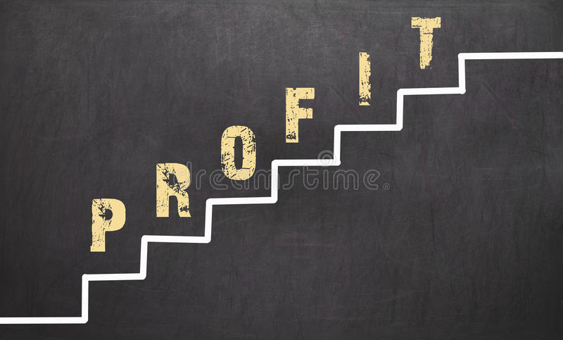 Download Profit Concept On Black Chalkboard With The Hand Stock Photo - Image: 83704134