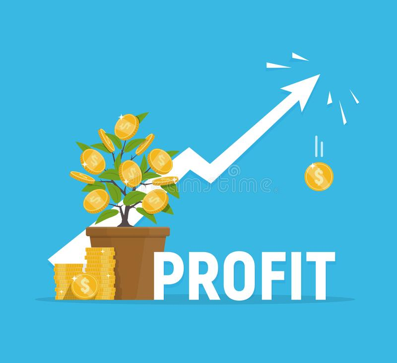 Profit concept. Financial growth. Investments and revenue increase. Vector illustration in flat style royalty free illustration