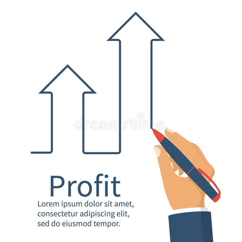 Profit concept, growing business graph. Businessman manages financial growth graph. Template investment. Vector illustration flat design. Upward chart arrow stock illustration