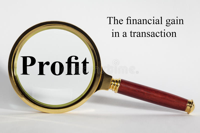 Profit Concept. Looking at Profit through a magnifying glass. Magnify your profit royalty free stock photos