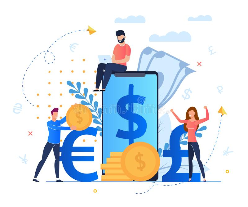 Profit from Currency Exchange Services Cartoon. Man Sits on Screen Large Smartphone. Mobile Application for Profitable and Convenient Exchange Currency vector illustration