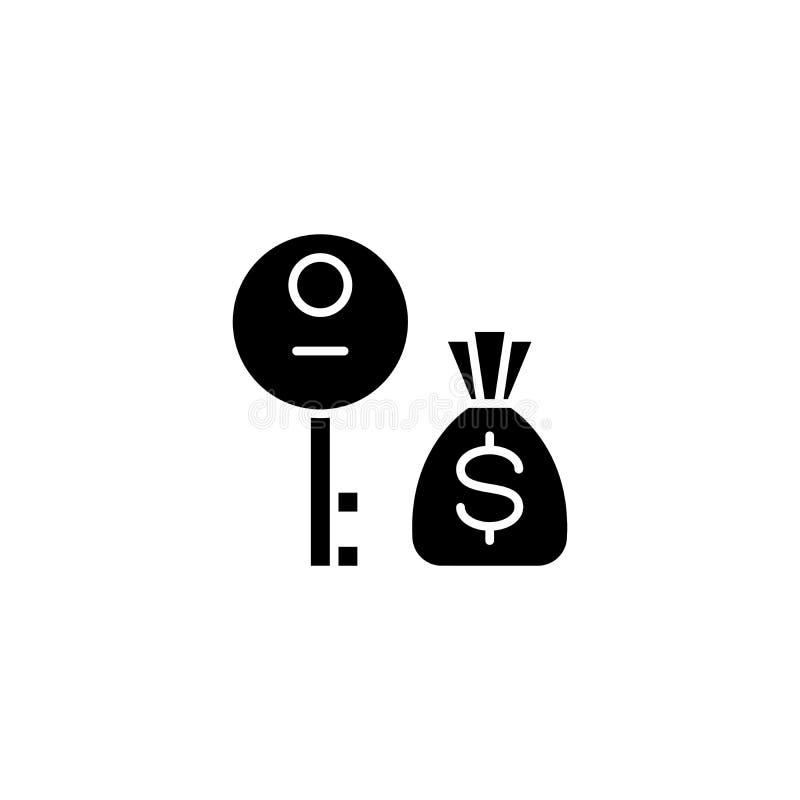 Profit decision black icon concept. Profit decision flat vector symbol, sign, illustration. stock illustration