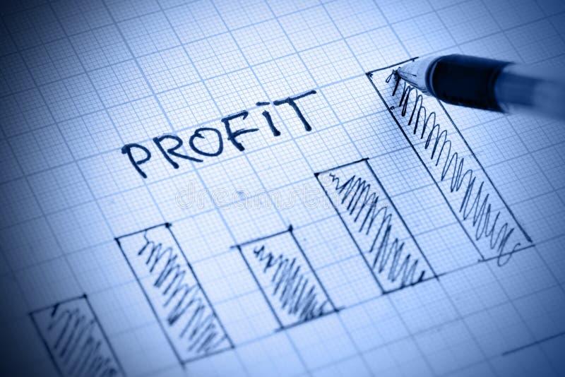 Profit diagram. Pen drawing profit bar chart. Shallow DOF royalty free stock photography