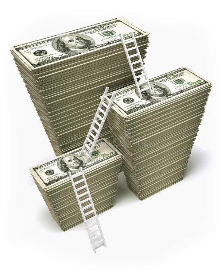 Profit dollars. Dollar profit old ladder - this is a 3d render illustration