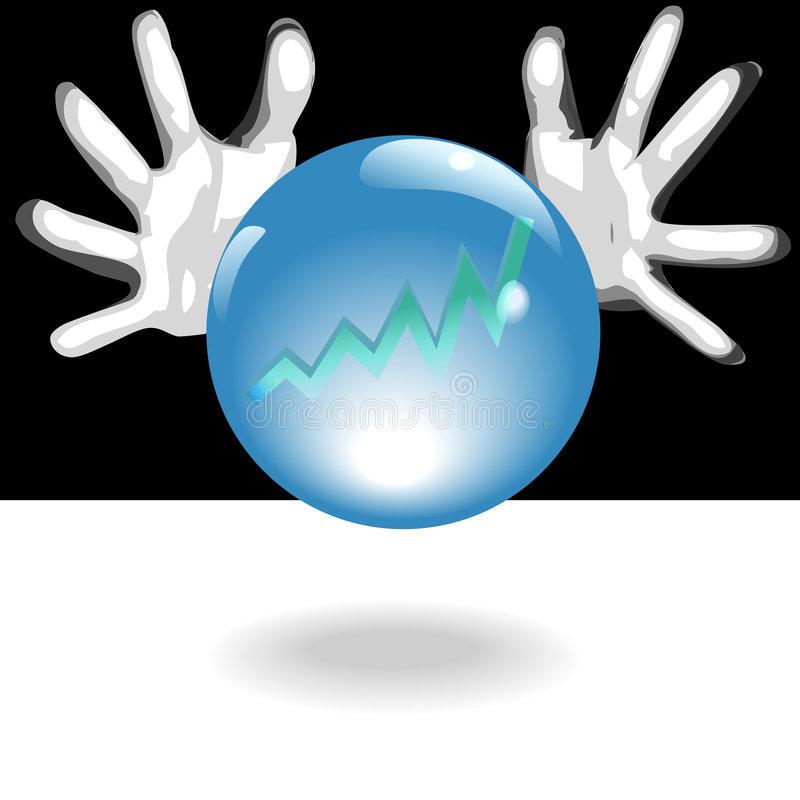 Profit Future Crystal Ball In Hands royalty free illustration