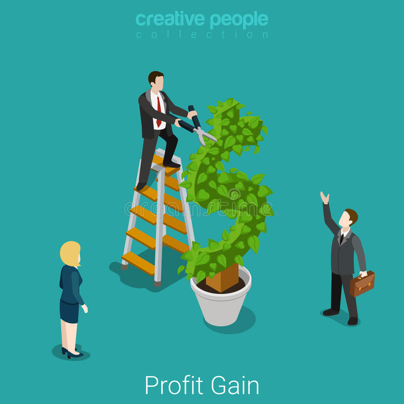Profit gain successful investment harvest flat vector isometric royalty free illustration