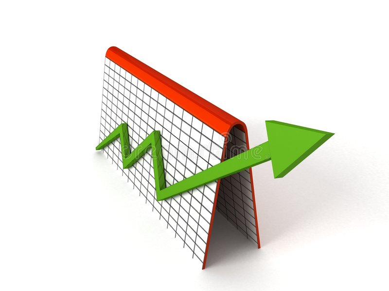 Profit graph with green arrows. 3D profit graph with green arrows royalty free illustration