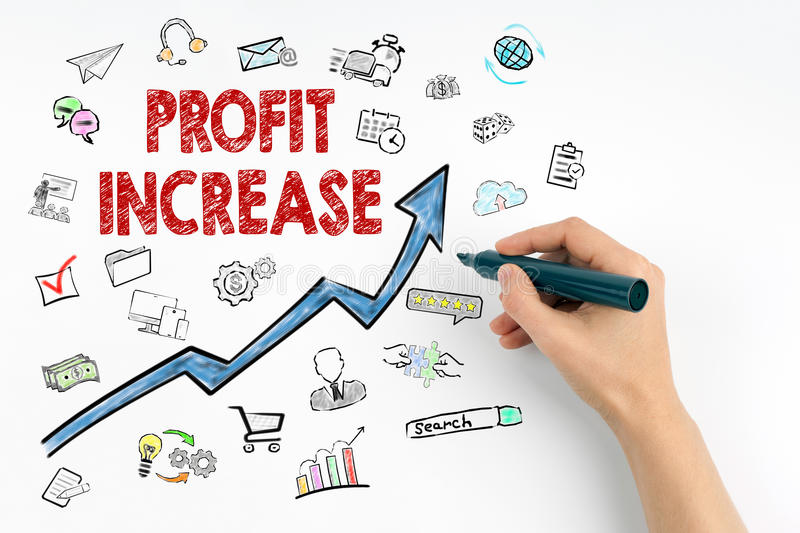 Profit Increase Concept. Hand with marker writing.  royalty free stock image