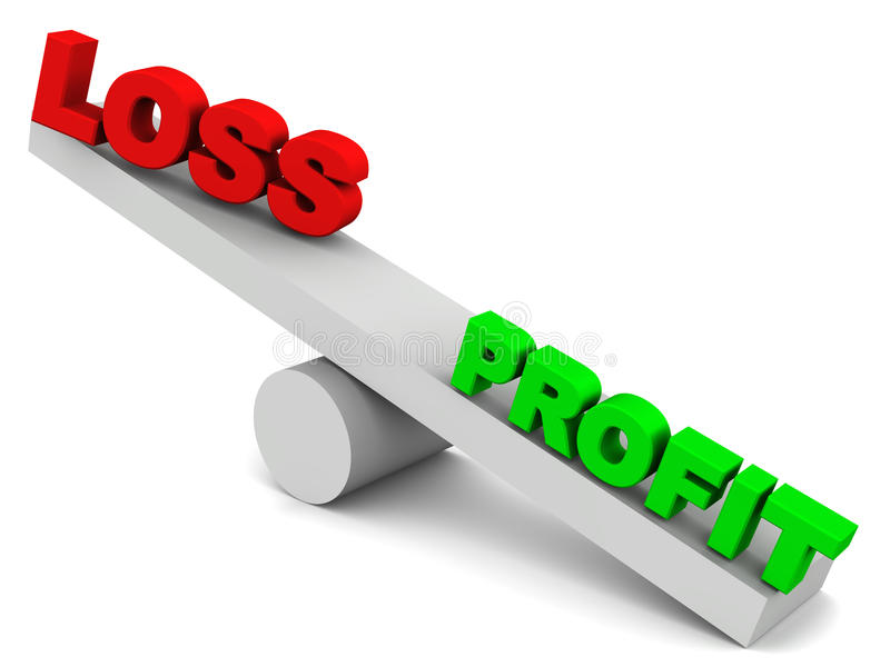 Profit or loss. Concept, profit outweighs loss on a 3d balance made up of simple shapes on white background stock illustration