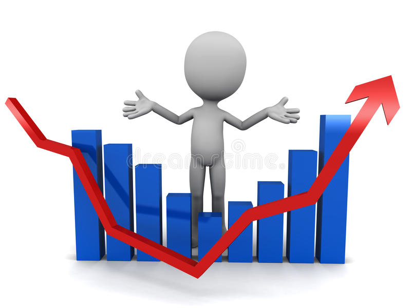 Profit and loss. Profit, loss and again profit, with graph going down and again up, little 3d man standing behind it stock illustration