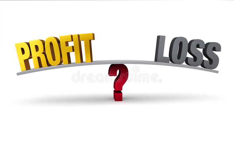 Profit Or Loss?. Bright, gold PROFIT and dark, gray LOSS sit on opposite ends of a gray board balanced on a red question mark. Isolated on white stock illustration