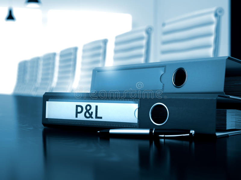 Profit and Loss on File Folder. Blurred Image. 3D. stock photography