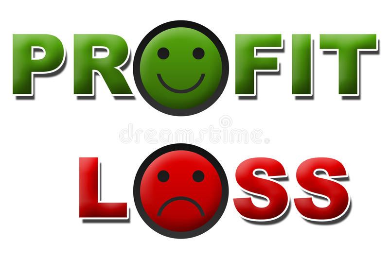 Profit and loss Smile Sad. Words profit and loss on green red smile and sad symbols vector illustration