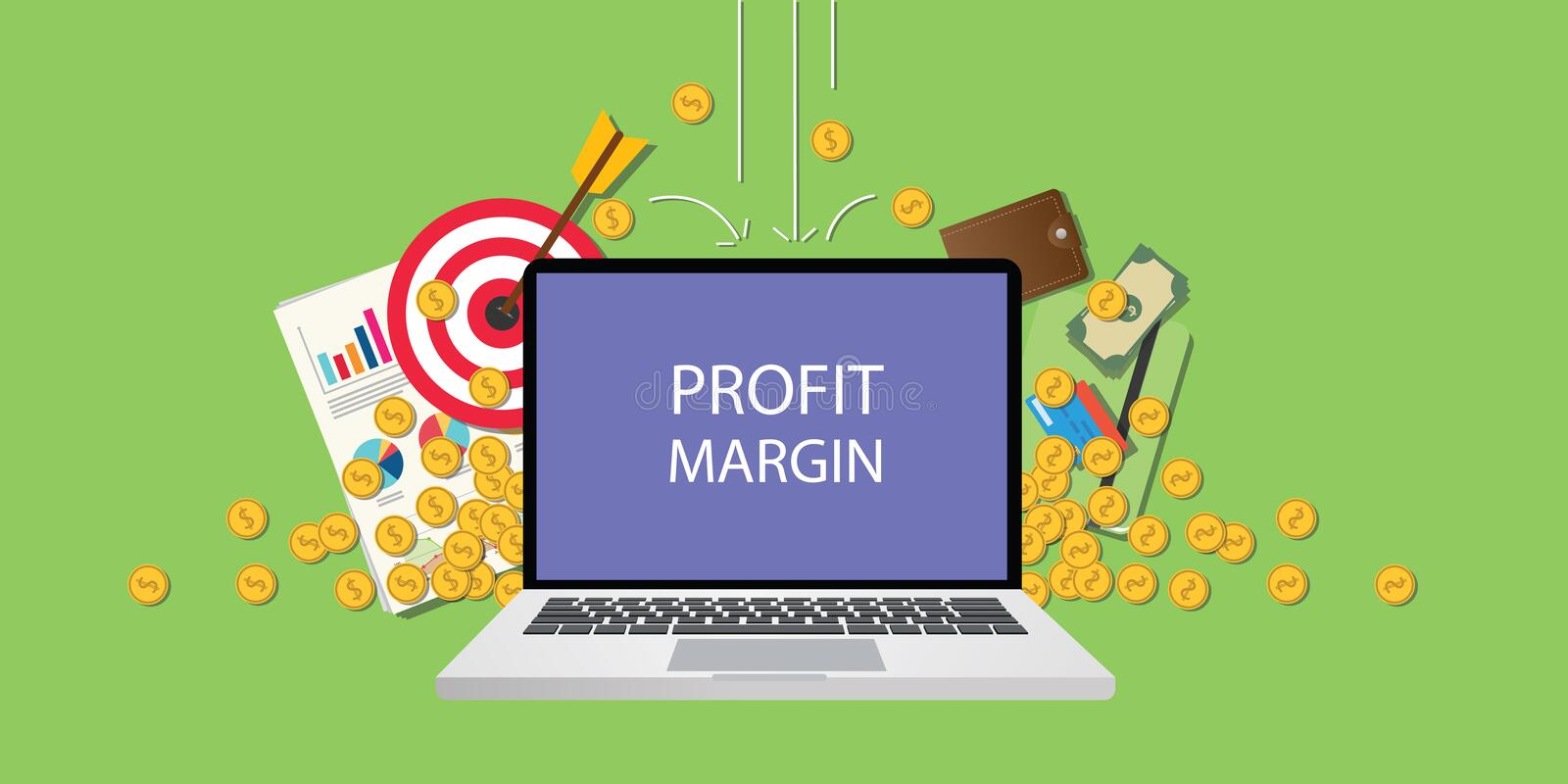 Profit margin concept illustration with laptop text on screen gold coin money royalty free illustration