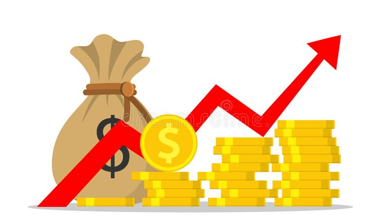 Profit money or budget. Pile of cash and rising graph arrow up, concept of business success, economic or market growth, investment revenue. Vector illustration stock illustration