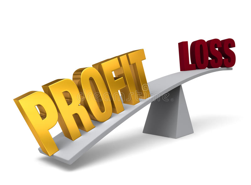 Profit Outweighs Loss. Bright, gold PROFIT weighs one end of a gray balance beam down while a gray LOSS sits high in the air on the other end. on white royalty free illustration
