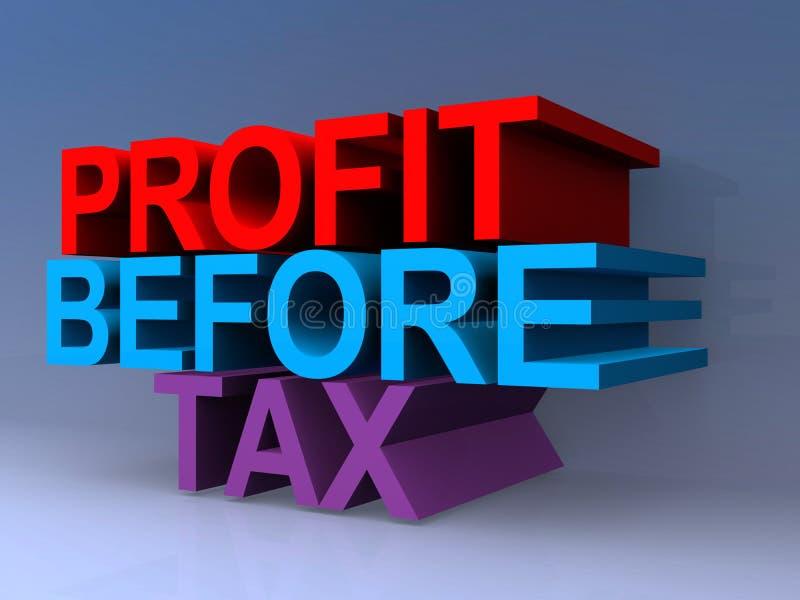 Profit before tax. On blue vector illustration