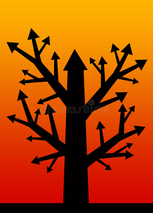 Profit tree. Tree with results and profit going up vector illustration