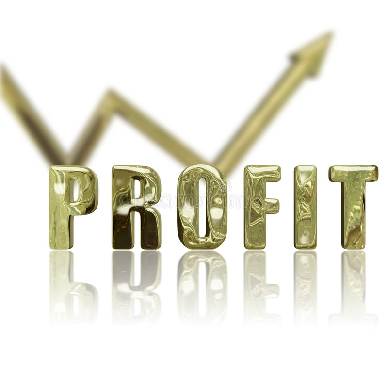 Profit Up & Up. Gold rendered profit graphic depicting success & improvement royalty free illustration