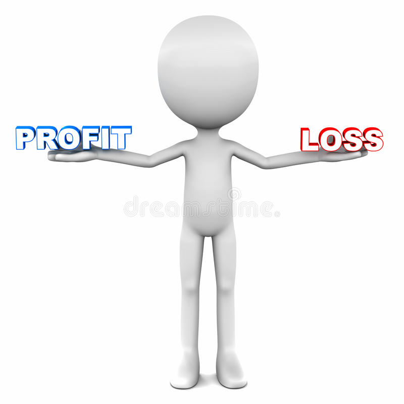 Profit versus loss. 3d man holding profit on one hand and loss on another, showing two financial outcome of a business other than break even vector illustration