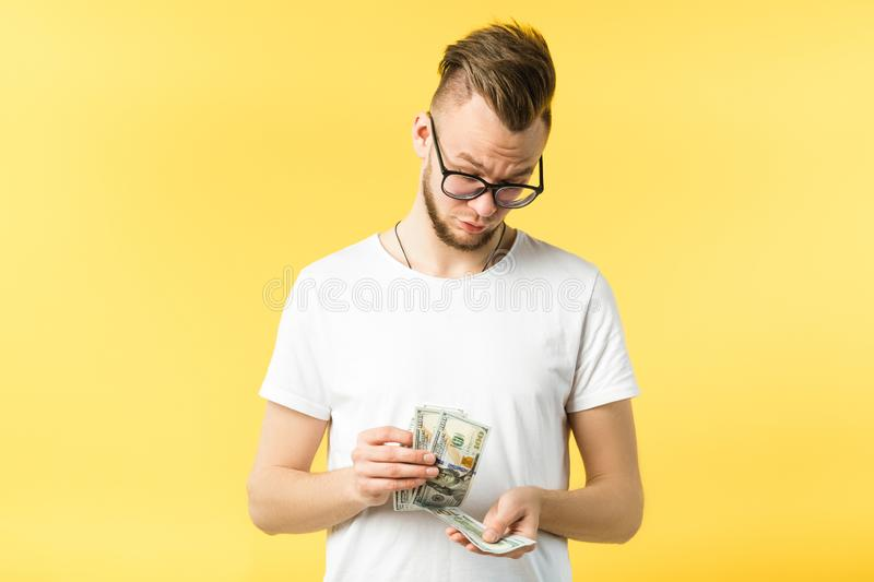 Profitable startup successful hipster guy portrait royalty free stock photos
