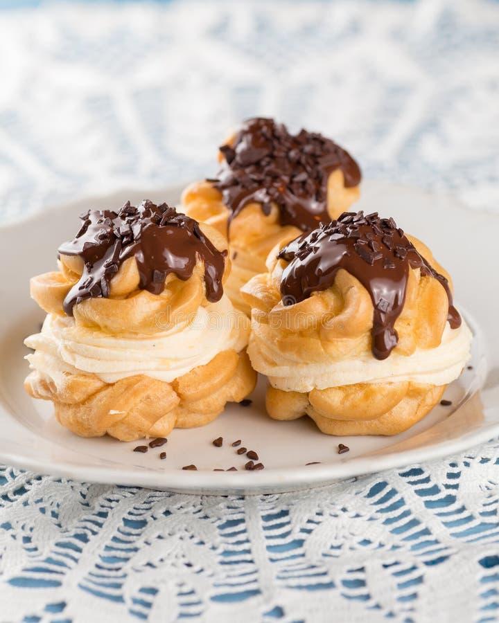 Profiterole Cream Puff, chocolate royalty free stock photos