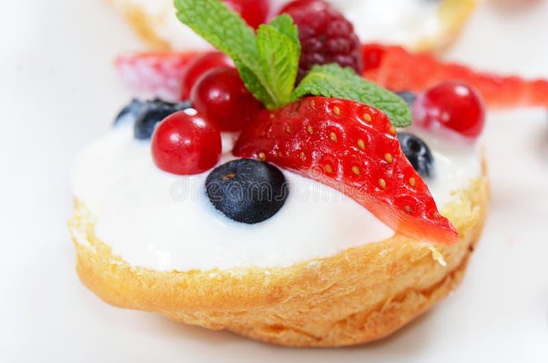 Profiteroles с ягодами смородиной и голубиками стоковая фотография rf