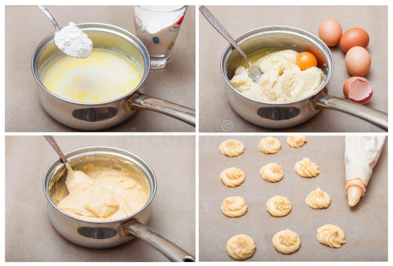 Profiteroles de la receta de los pasteles de los choux paso a paso cocinando, collage fotografía de archivo