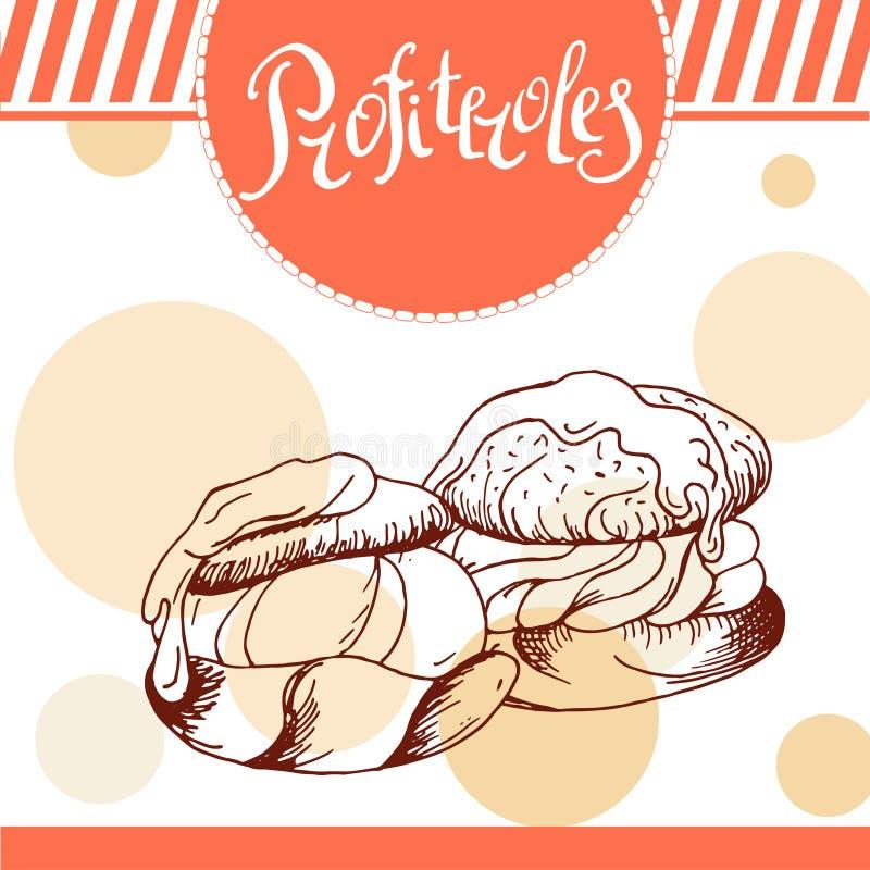 Profiteroles vectorkaart Hand-drawn affiche met kalligrafisch element Kunstillustratie Zoet pictogram royalty-vrije illustratie