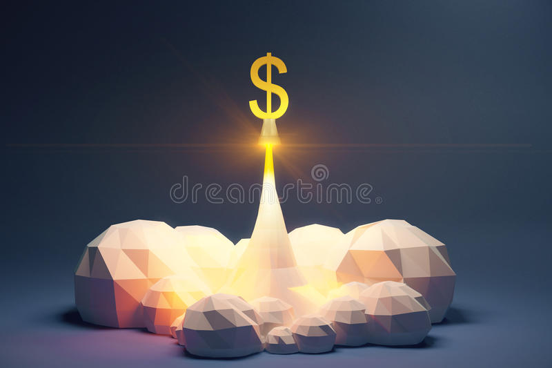 Profitez le concept avec souffle le symbole dollar du cosmodrom, polyg illustration libre de droits