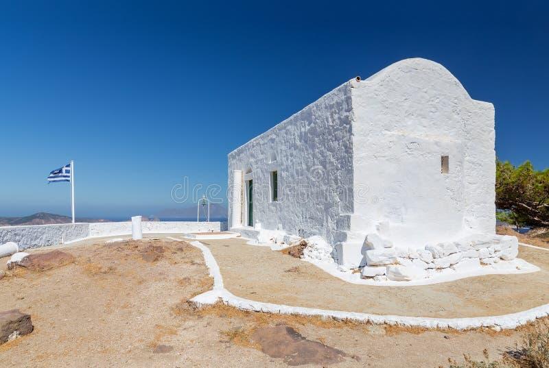 Profitis Ilias kapell, Milos ö, Cyclades, Grekland royaltyfri fotografi