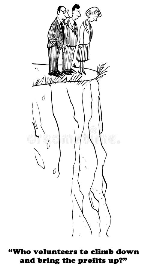 Profits Have Fallen. Business cartoon about businesspeople looking down from a tall cliff at the profits have fallen stock illustration