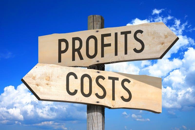 Profitti, costi - cartello di legno illustrazione di stock