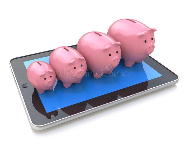 Profitto del porcellino salvadanaio su un PC della compressa Banca mobile, contabilità, finan illustrazione di stock