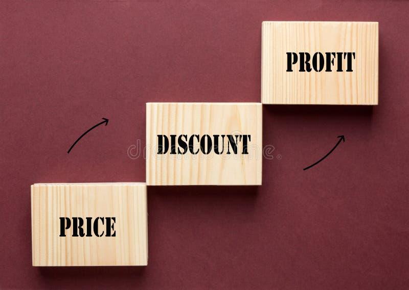 Profitto di sconto di prezzi immagine stock