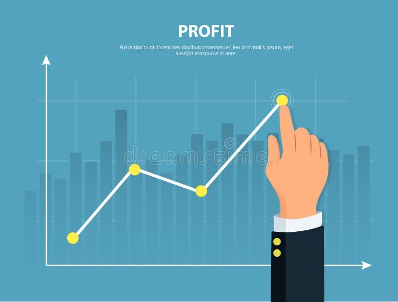 profitto L'uomo d'affari dirige il grafico della crescita finanziaria illustrazione di stock