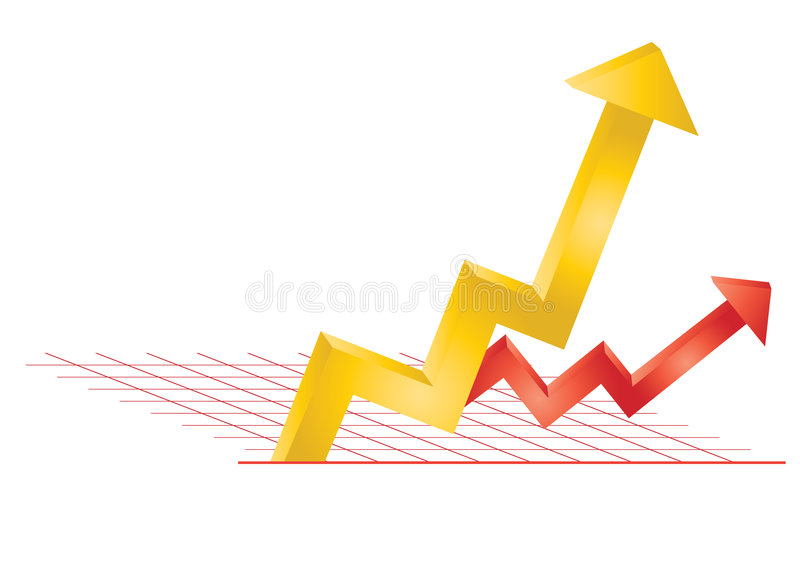 Profitverlustpfeile im Diagramm vektor abbildung