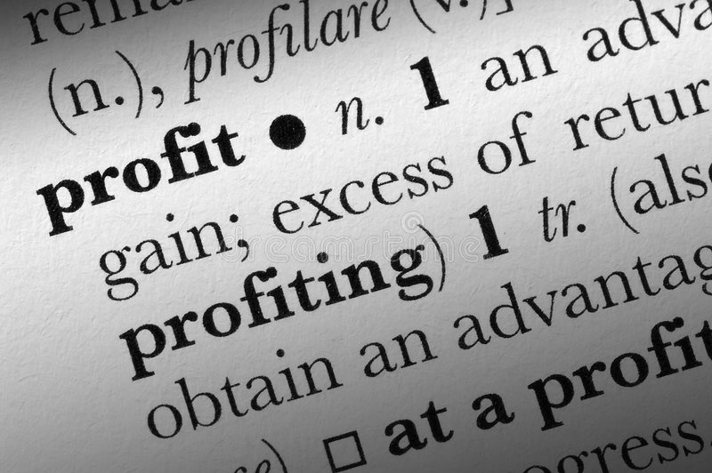 Profitwortverzeichnisausdruck stockbild