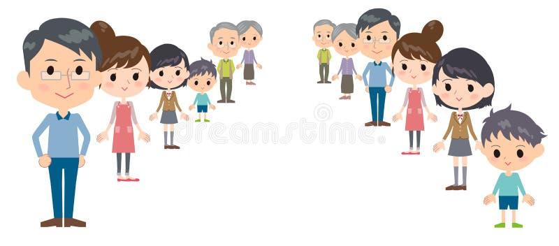 Profondità delle generazioni della famiglia tre illustrazione vettoriale