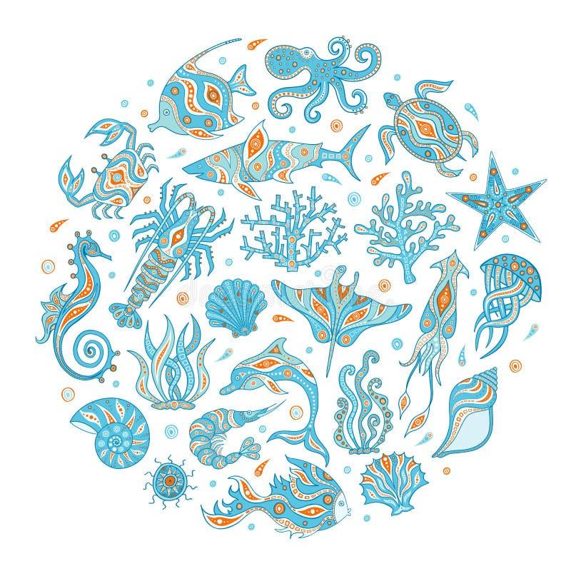 Profondità disegnate a mano del mare Icone di scarabocchio di vettore illustrazione vettoriale