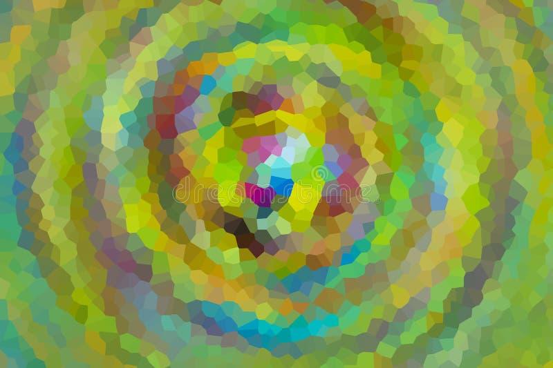 Profondità lilla gialla del mulinello di moto del fondo del mosaico del daimond della neve di bello verde di pendenza del modello illustrazione di stock