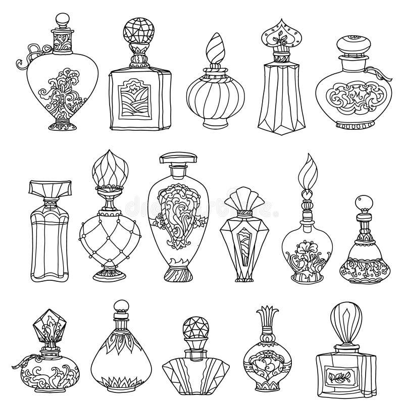Profumi in bianco e nero dell'annata di fantasia royalty illustrazione gratis