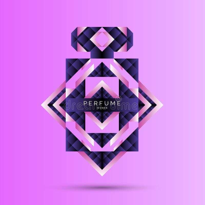 Profumi la bottiglia con il modello geometrico Manifesto moderno luminoso per fragranza di vendita e di pubblicità illustrazione di stock